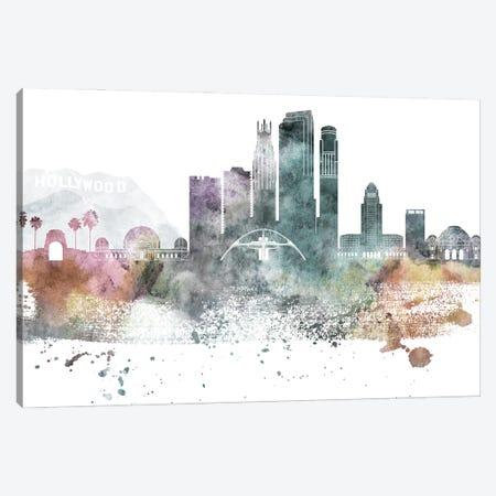 Los Angeles Pastel Skylines Canvas Print #WDA219} by WallDecorAddict Canvas Artwork