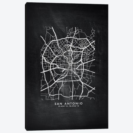 San Antonio City Map Chalkboard Style Canvas Print #WDA2201} by WallDecorAddict Canvas Artwork