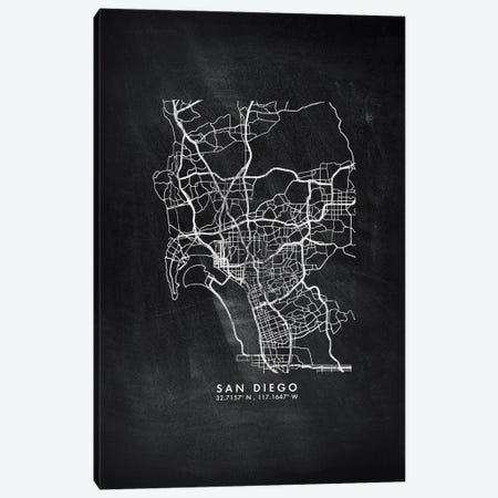 San Diego City Map Chalkboard Style Canvas Print #WDA2203} by WallDecorAddict Canvas Art