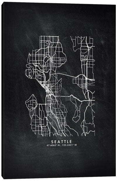 Seattle City Map Chalkboard Style Canvas Art Print
