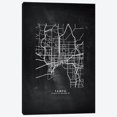 Tampa City Map Chalkboard Style Canvas Print #WDA2217} by WallDecorAddict Canvas Wall Art