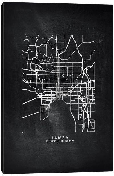 Tampa City Map Chalkboard Style Canvas Art Print