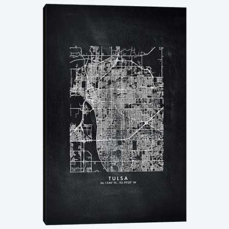 Tulsa City Map Chalkboard Style Canvas Print #WDA2219} by WallDecorAddict Canvas Art Print