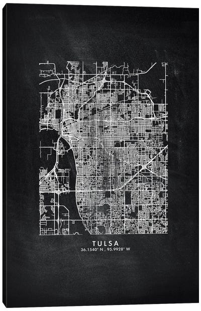 Tulsa City Map Chalkboard Style Canvas Art Print