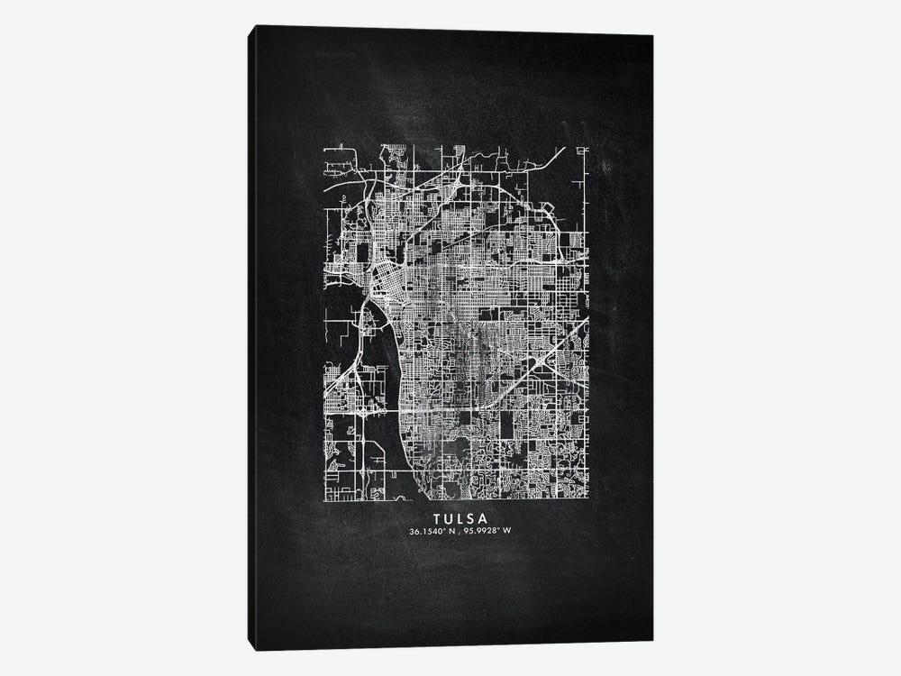 Tulsa City Map Chalkboard Style by WallDecorAddict 1-piece Canvas Art Print