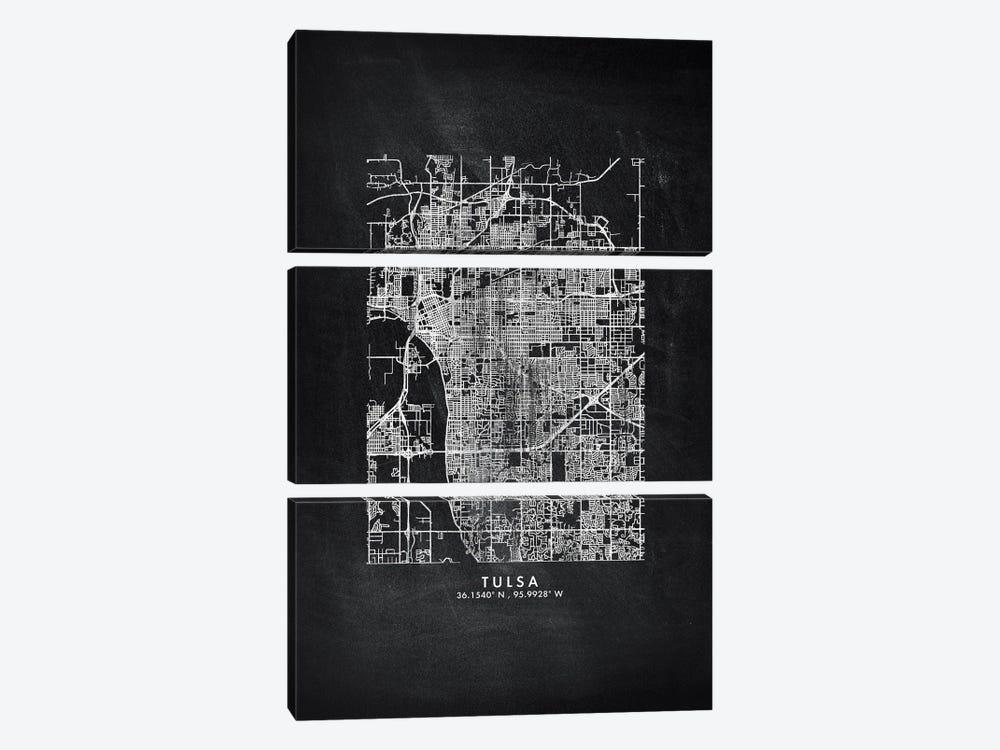 Tulsa City Map Chalkboard Style by WallDecorAddict 3-piece Canvas Print
