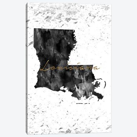 Louisiana Black And White Gold Canvas Print #WDA221} by WallDecorAddict Art Print