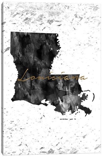 Louisiana Black And White Gold Canvas Art Print