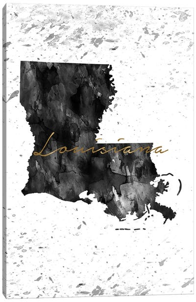 Louisiana Black And White Gold Canvas Art Print
