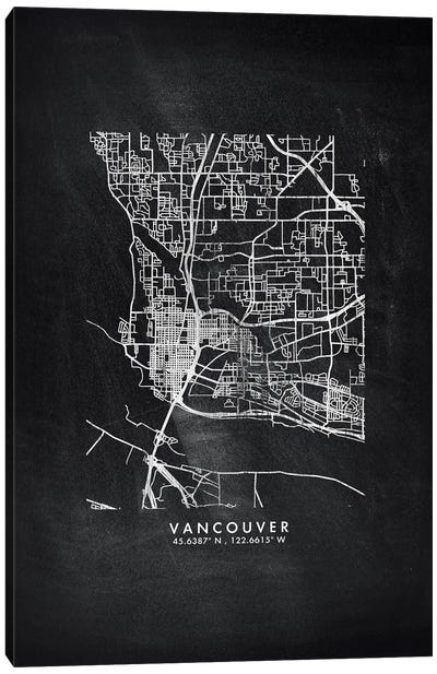 Vancouver City Map Chalkboard Style Canvas Art Print