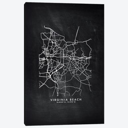 Virginia Beach City Map Chalkboard Style Canvas Print #WDA2221} by WallDecorAddict Canvas Art