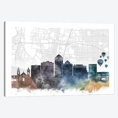 Albuquerque Skyline City Map Canvas Print #WDA2222} by WallDecorAddict Canvas Wall Art