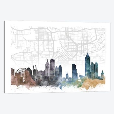 Atlanta Skyline City Map Canvas Print #WDA2223} by WallDecorAddict Canvas Wall Art