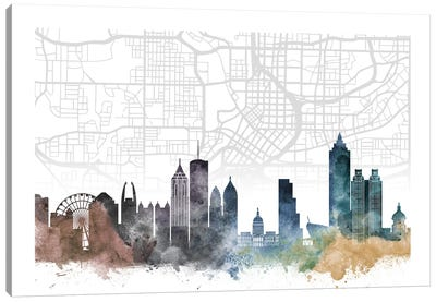 Atlanta Skyline City Map Canvas Art Print