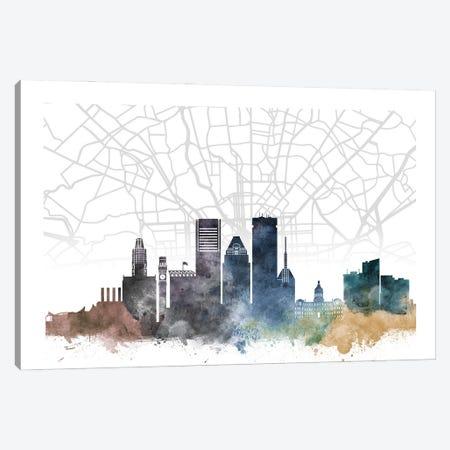Baltimore Skyline City Map Canvas Print #WDA2225} by WallDecorAddict Art Print