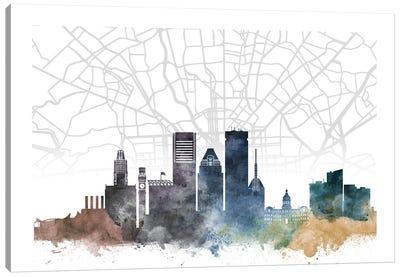Baltimore Skyline City Map Canvas Art Print
