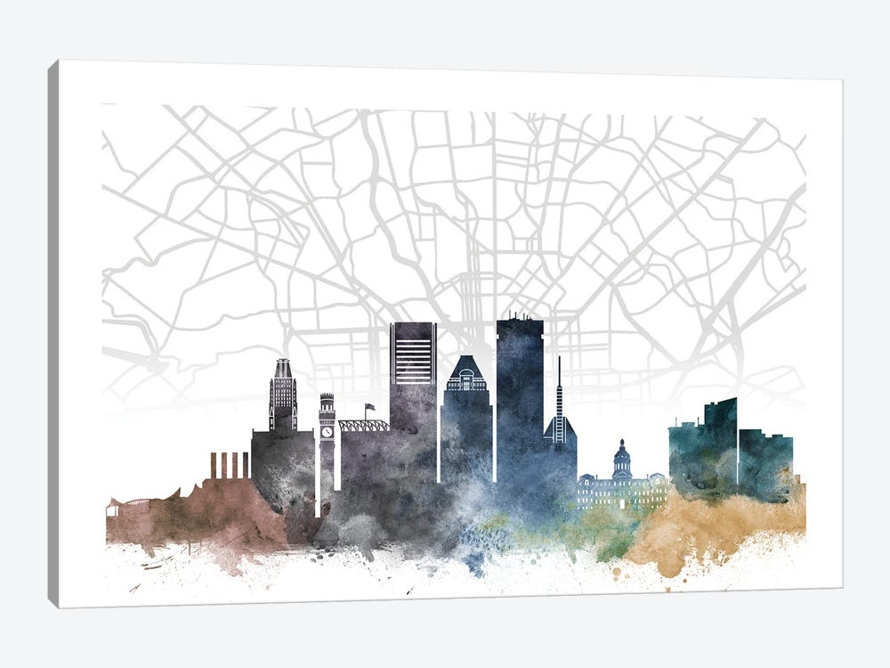Baltimore Skyline City Map by WallDecorAddict 1-piece Canvas Artwork