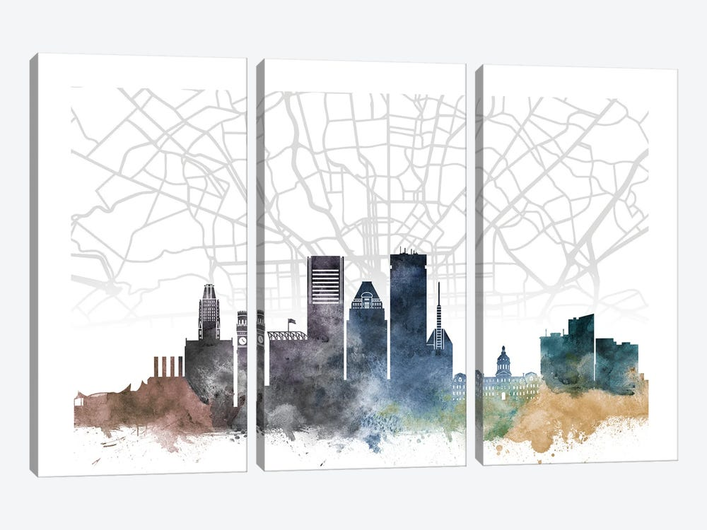 Baltimore Skyline City Map by WallDecorAddict 3-piece Canvas Wall Art