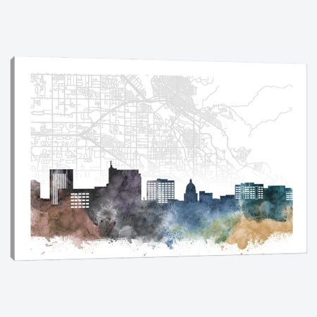 Boise Skyline City Map Canvas Print #WDA2228} by WallDecorAddict Canvas Art