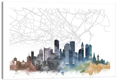 Boston Skyline City Map Canvas Art Print
