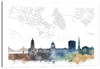 Charleston Skyline City Map Canvas Art Print