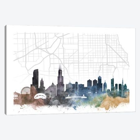 Chicago Skyline City Map Canvas Print #WDA2233} by WallDecorAddict Canvas Art Print