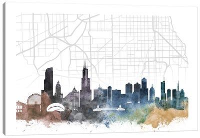 Chicago Skyline City Map Canvas Art Print