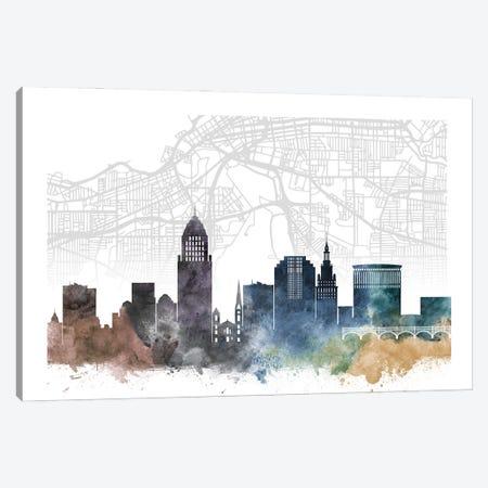 Cleveland Skyline City Map Canvas Print #WDA2235} by WallDecorAddict Canvas Art