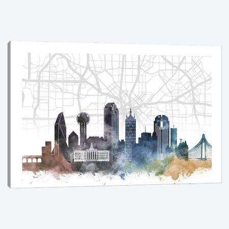 Dallas Skyline City Map Canvas Print #WDA2239} by WallDecorAddict Canvas Art Print