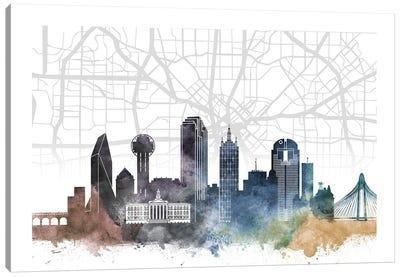 Dallas Skyline City Map Canvas Art Print