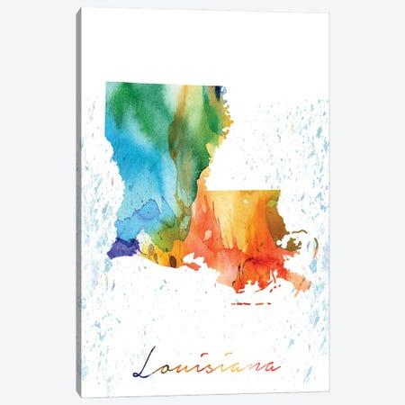 Louisiana State Colorful Canvas Print #WDA223} by WallDecorAddict Art Print