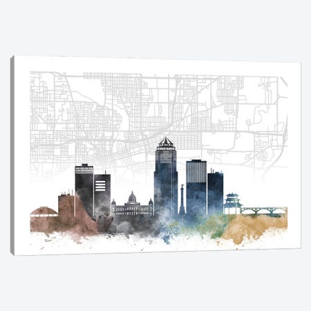 Des Moines Skyline City Map Canvas Print #WDA2241} by WallDecorAddict Canvas Wall Art