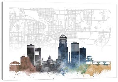 Des Moines Skyline City Map Canvas Art Print