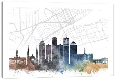 Detroit Skyline City Map Canvas Art Print