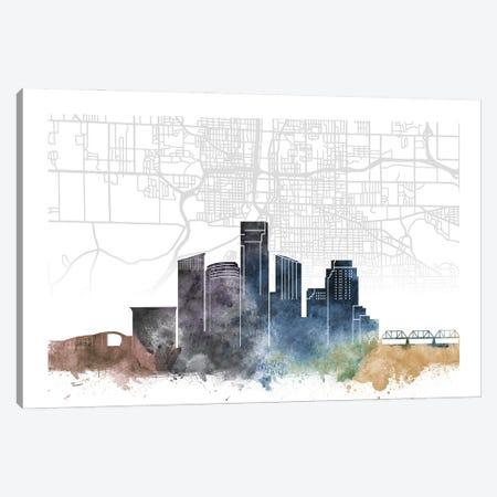 Grand Rapids Skyline City Map Canvas Print #WDA2245} by WallDecorAddict Canvas Art Print