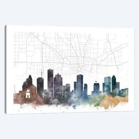 Houston Skyline City Map Canvas Print #WDA2246} by WallDecorAddict Canvas Art Print