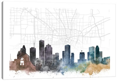 Houston Skyline City Map Canvas Art Print