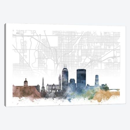Indianapolis Skyline City Map Canvas Print #WDA2247} by WallDecorAddict Canvas Art Print
