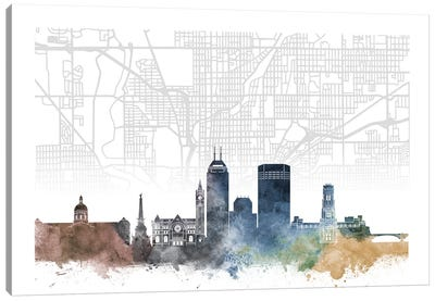 Indianapolis Skyline City Map Canvas Art Print