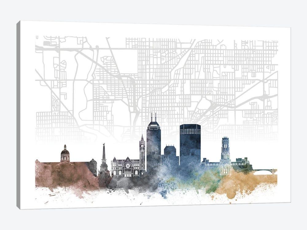 Indianapolis Skyline City Map by WallDecorAddict 1-piece Canvas Artwork