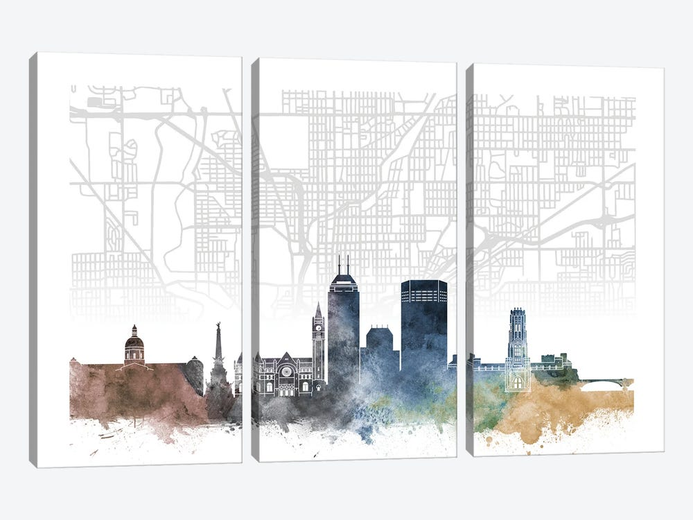 Indianapolis Skyline City Map by WallDecorAddict 3-piece Canvas Art