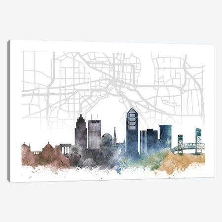 Jacksonville Skyline City Map Canvas Print #WDA2248} by WallDecorAddict Canvas Artwork