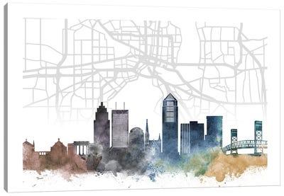 Jacksonville Skyline City Map Canvas Art Print