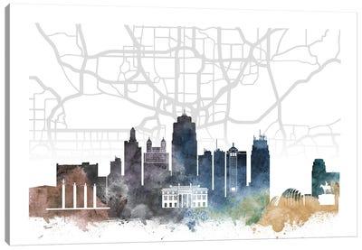Kansas City Skyline City Map Canvas Art Print
