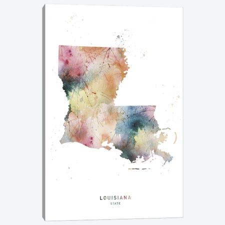 Louisiana State Watercolor Canvas Print #WDA224} by WallDecorAddict Canvas Art
