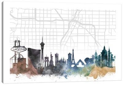 Las Vegas Skyline City Map Canvas Art Print