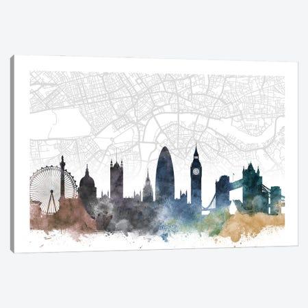 London Skyline City Map Canvas Print #WDA2251} by WallDecorAddict Canvas Print