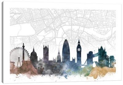 London Skyline City Map Canvas Art Print