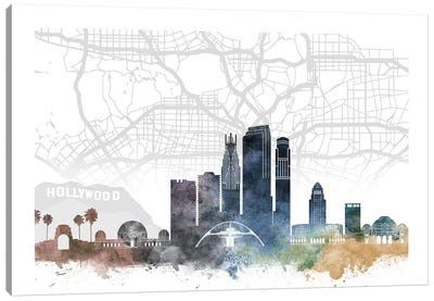 Los Angeles Skyline City Map Canvas Art Print