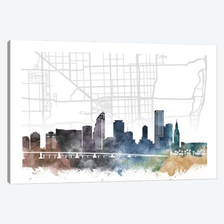 Miami City Skyline City Map Canvas Print #WDA2253} by WallDecorAddict Art Print